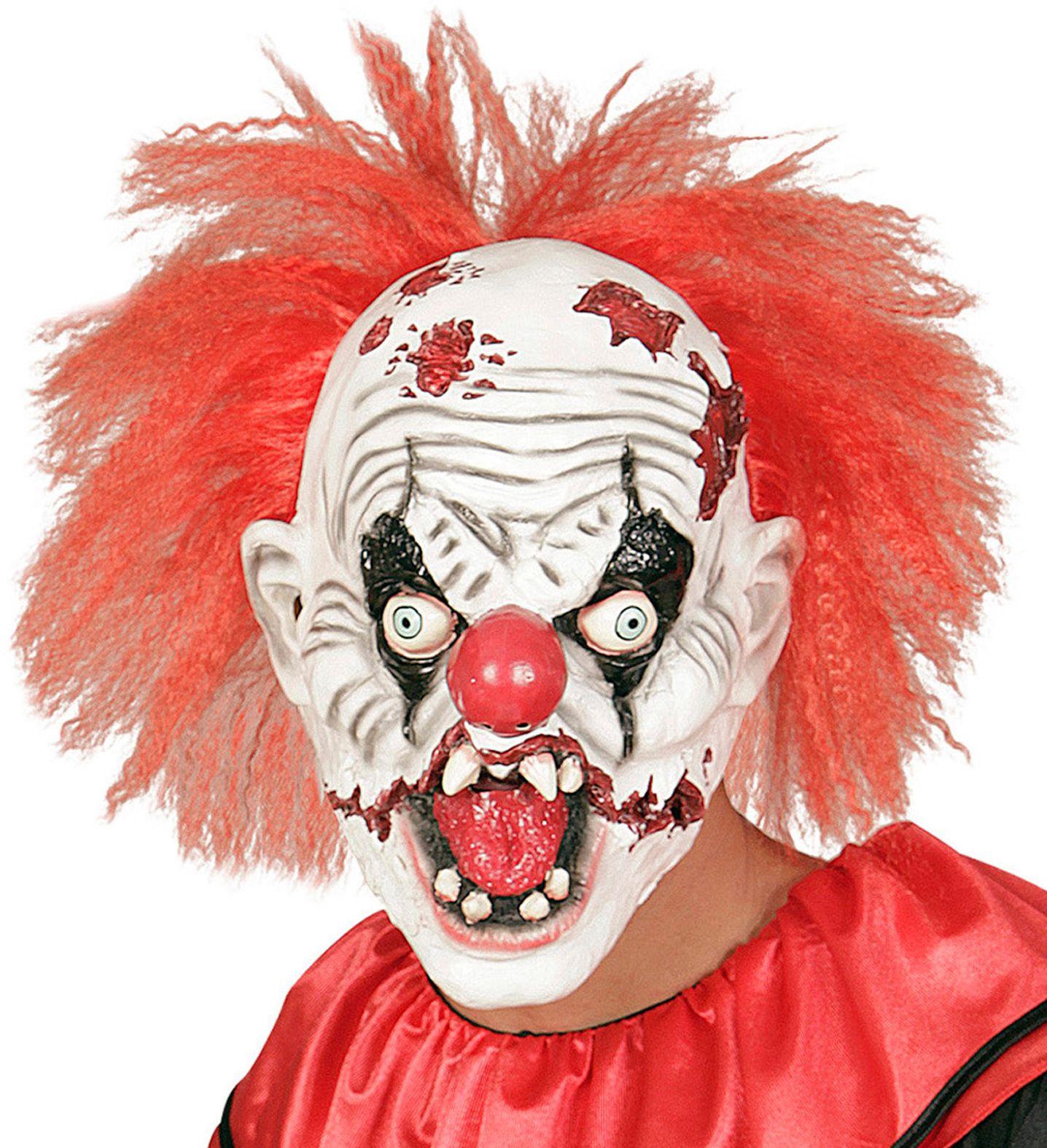 Horror clown masker met pruik