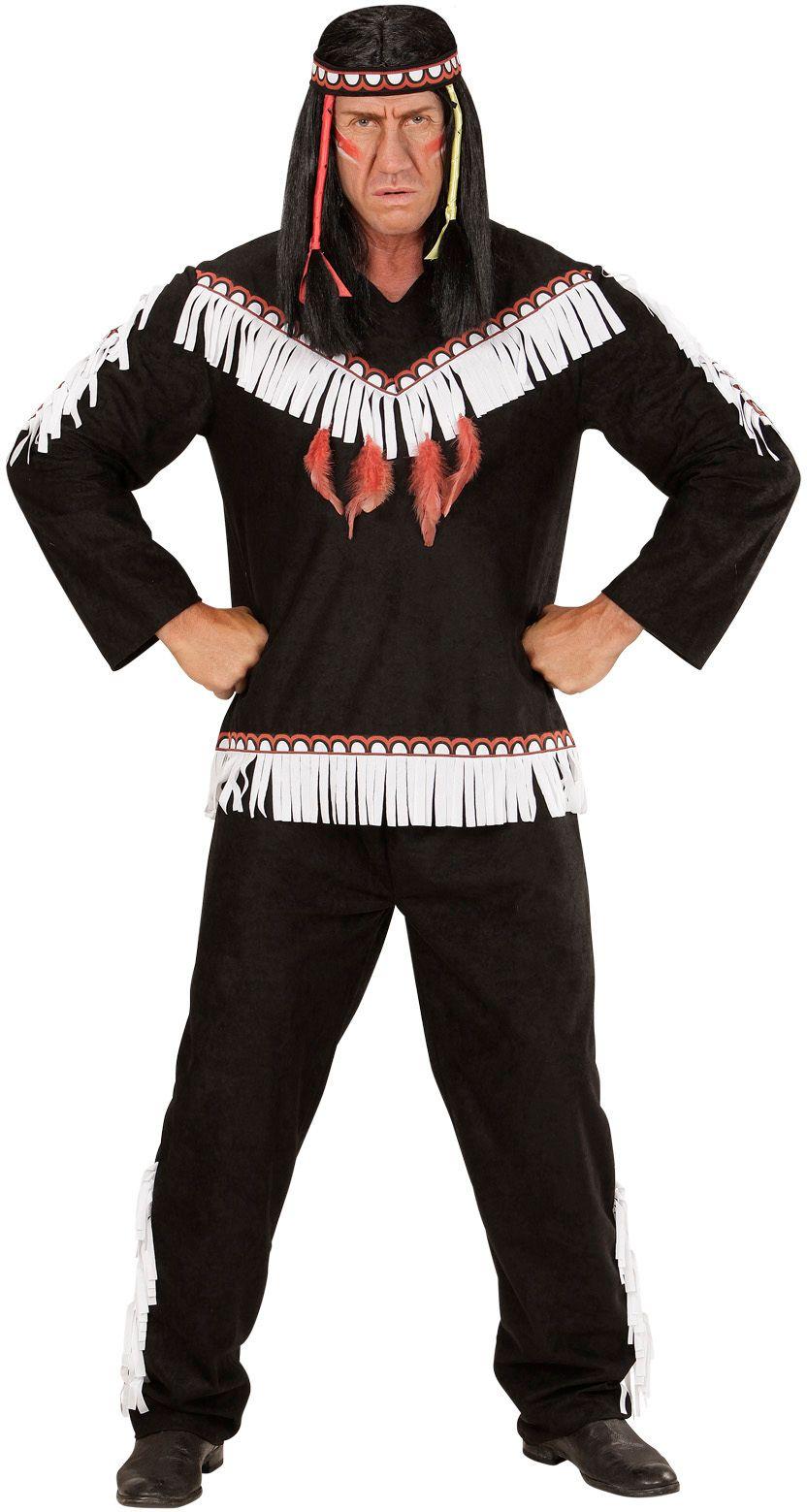 Indiaan kostuum zwart heren