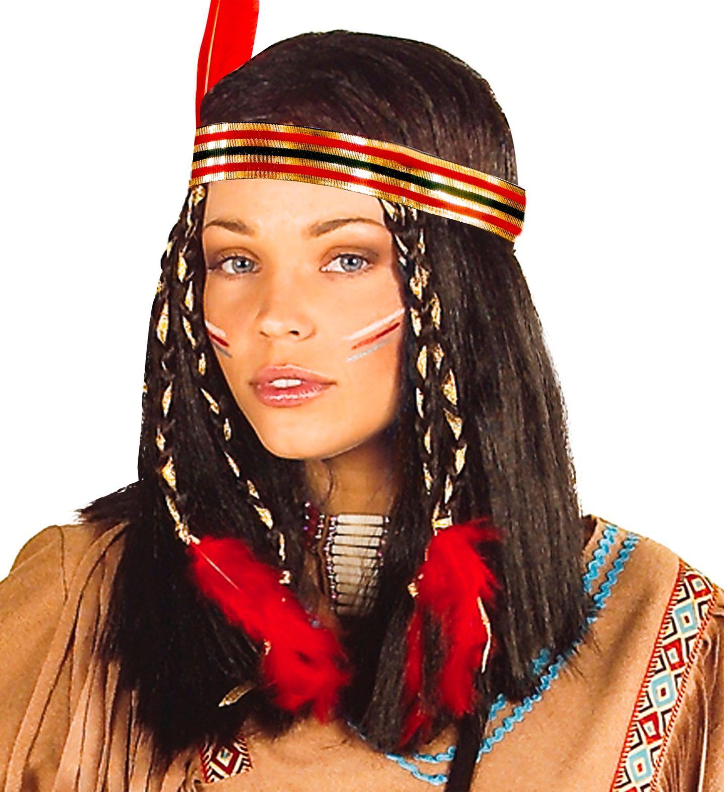 Indianen pruik bruin