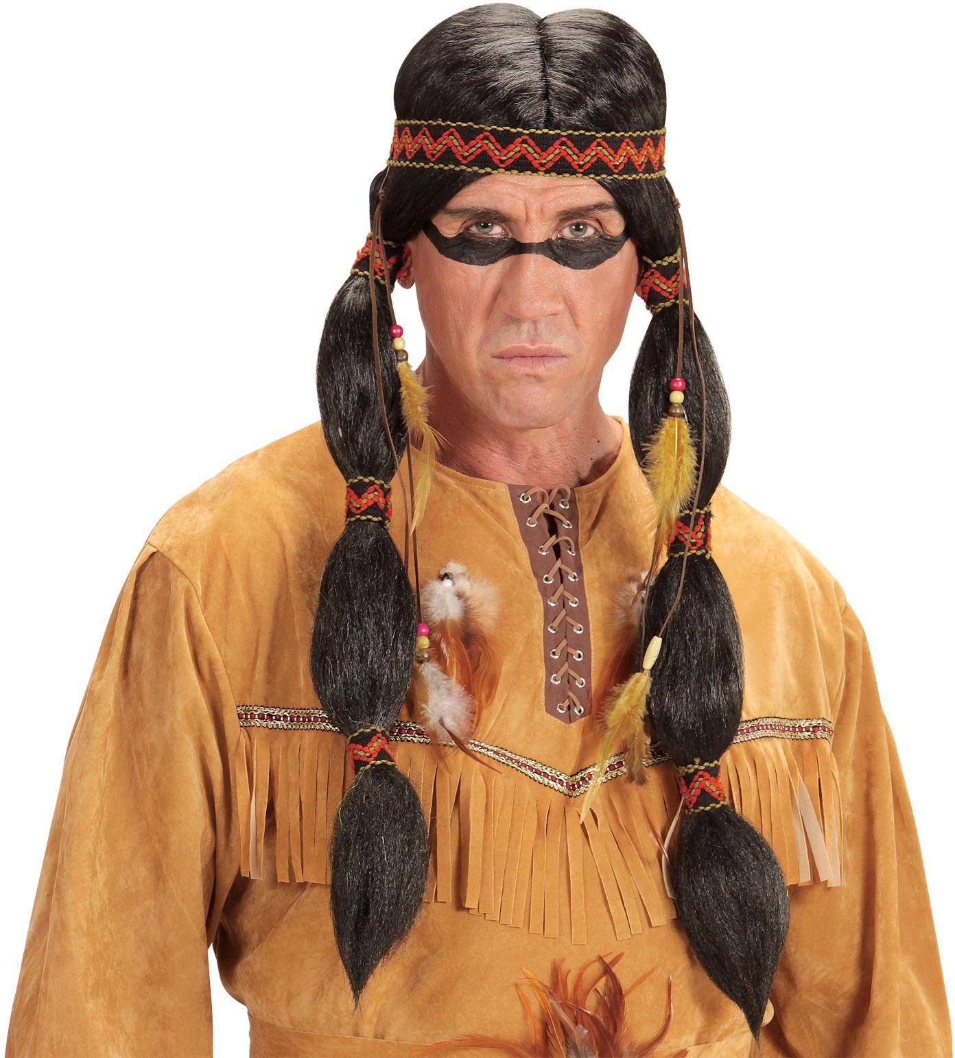 Indianen pruik met staartjes