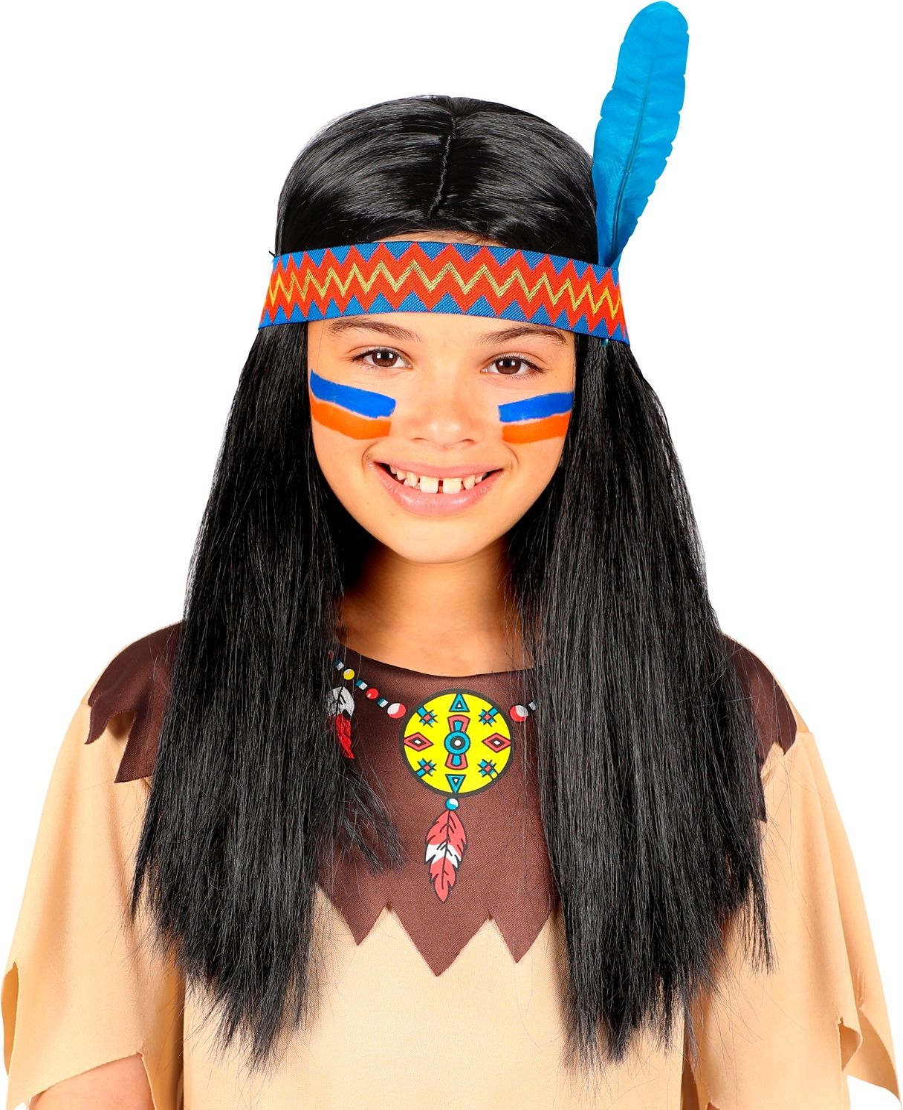 Indianen pruik zwart meisjes