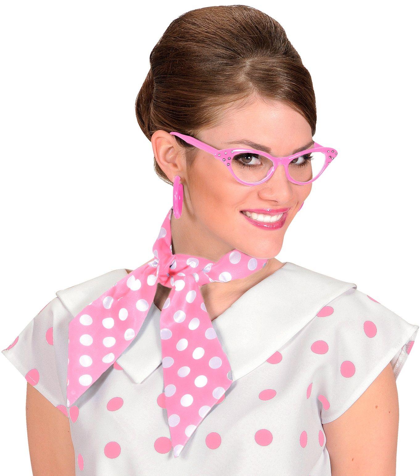 Jaren 50 sjaal roze met witte stippen