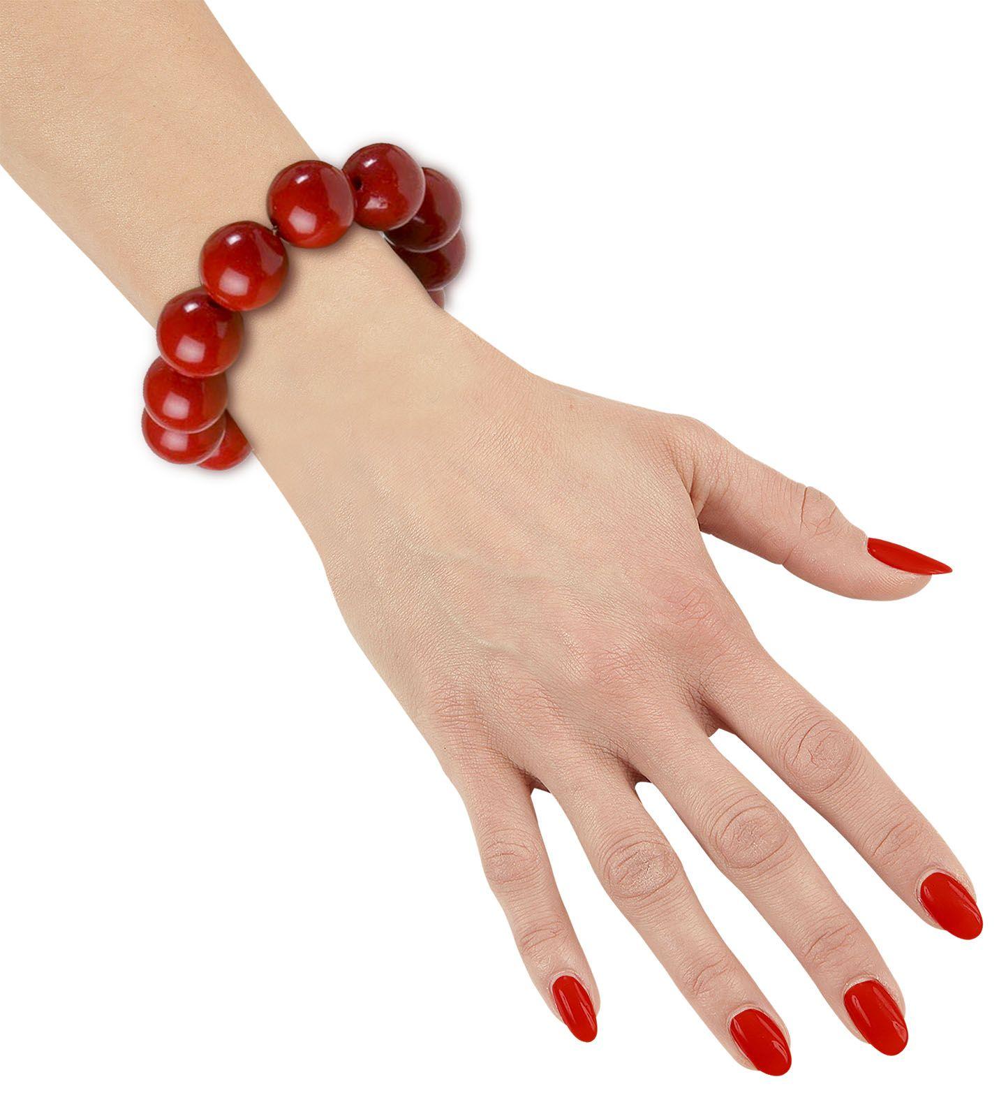 Jaren 70 parel armband rood