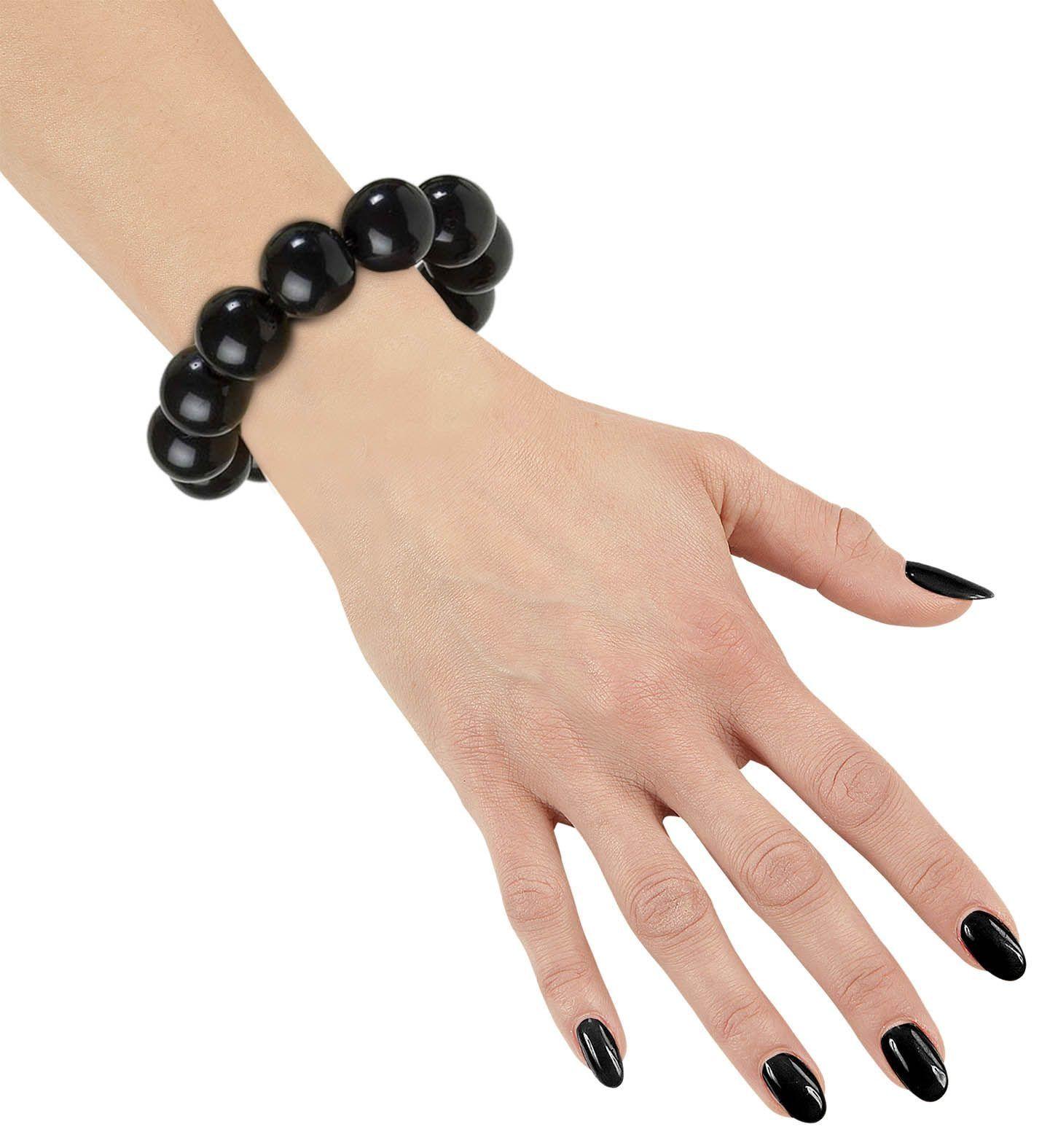 Jaren 70 parel armband zwart
