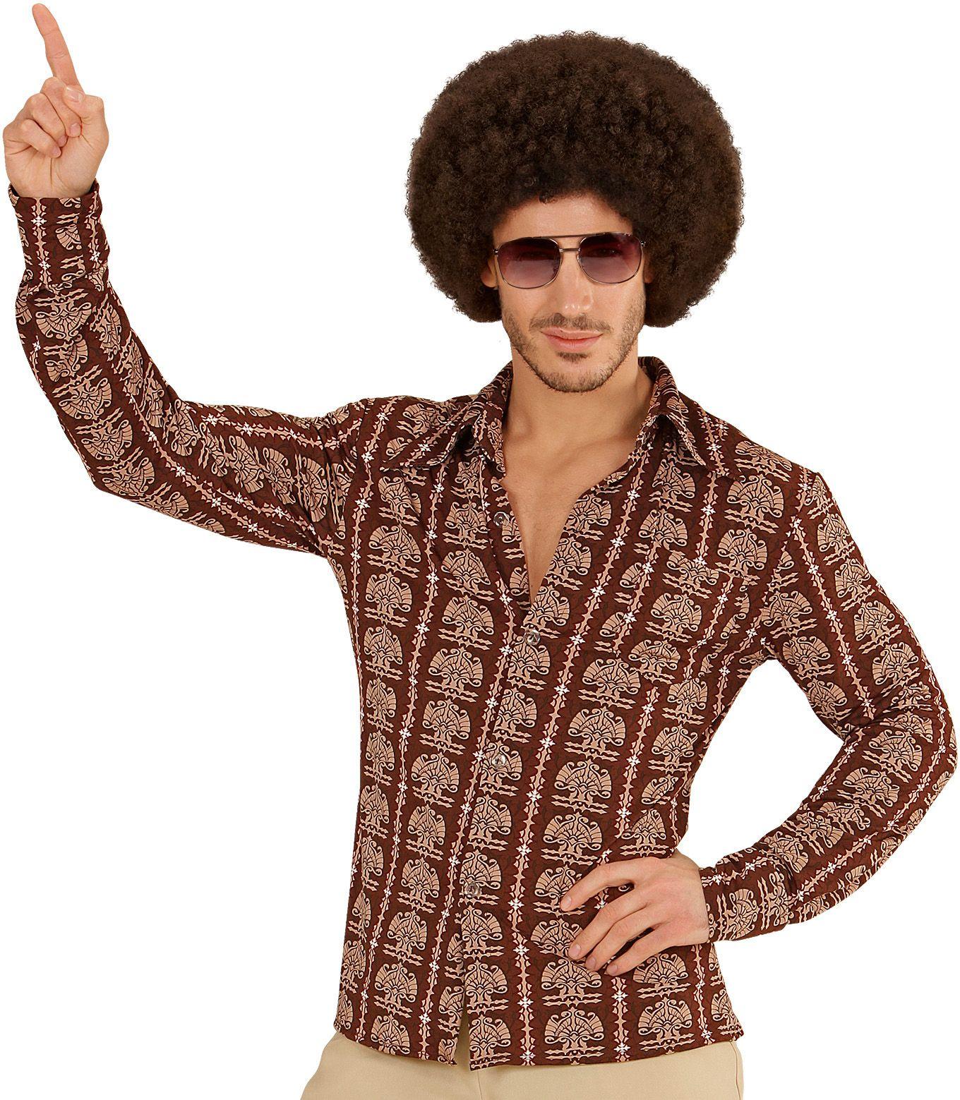 Jaren 70 shirt bruin