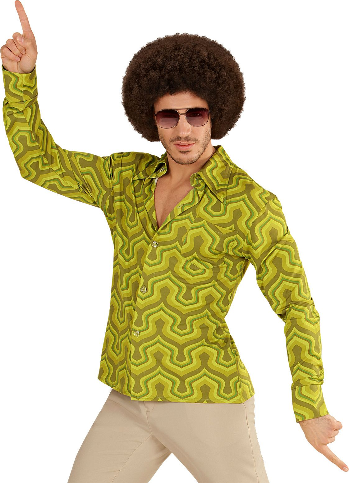 Jaren 70 shirt groen