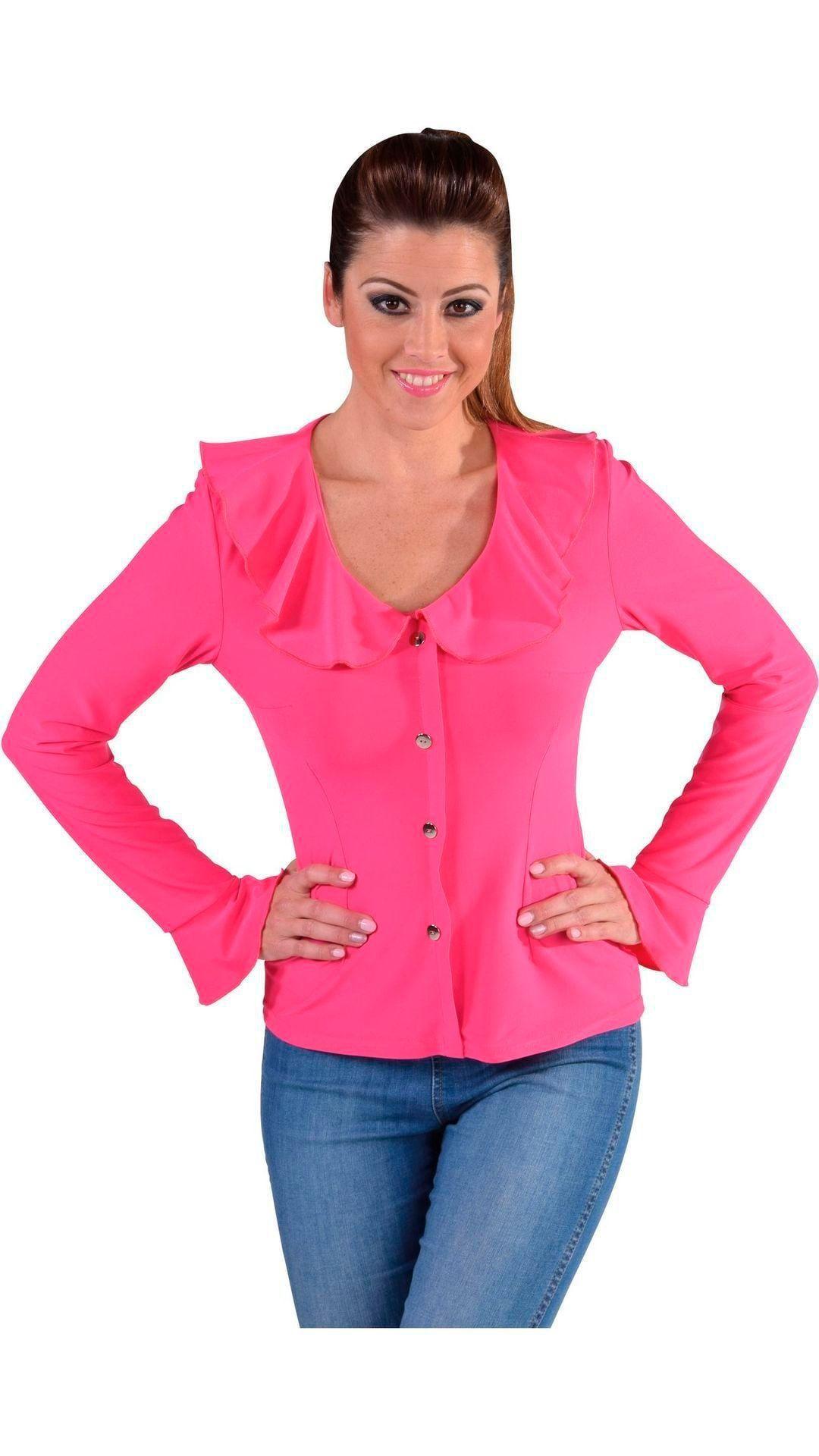 Jersey blouse roze