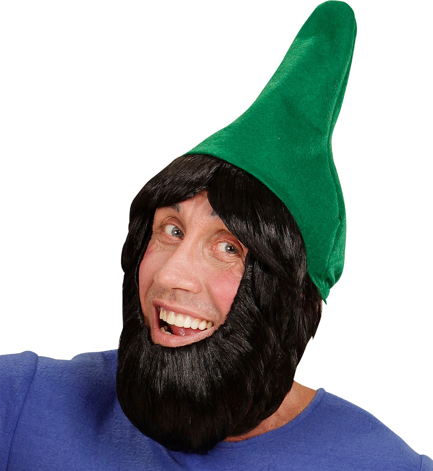 Kaboutermuts met pruik en baard groen