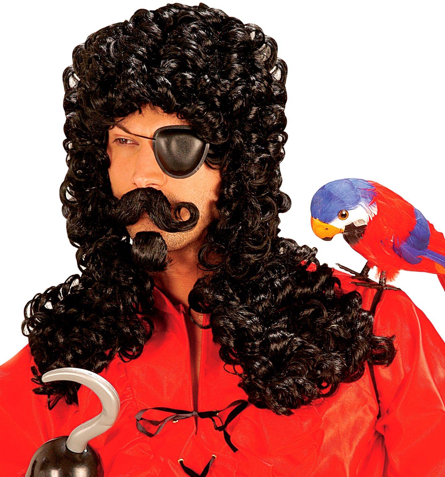 Kapitein haak pruik met snor en baard