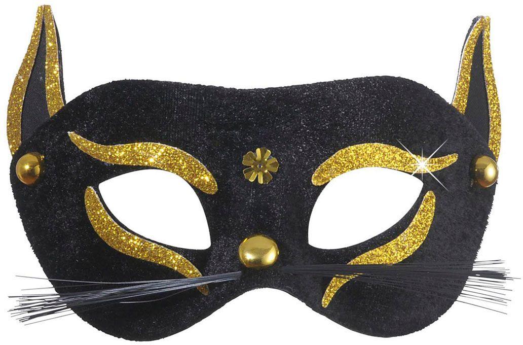 Katten oogmasker met gouden glitters