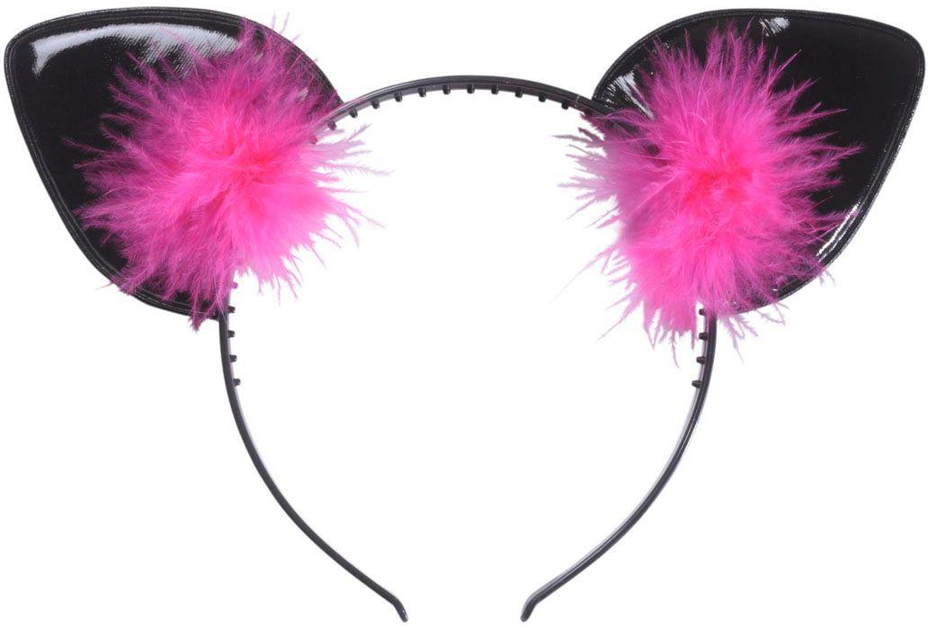 Katten oren met roze veren