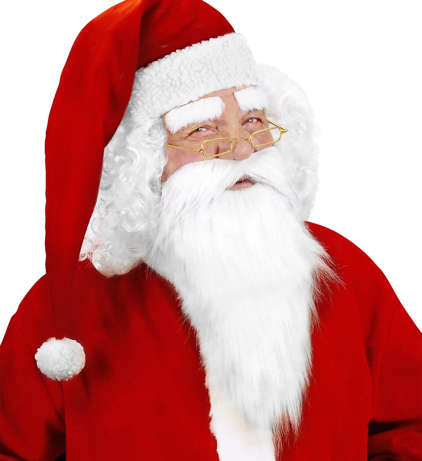 Kerstman baard met snor en wenkbrauwen wit
