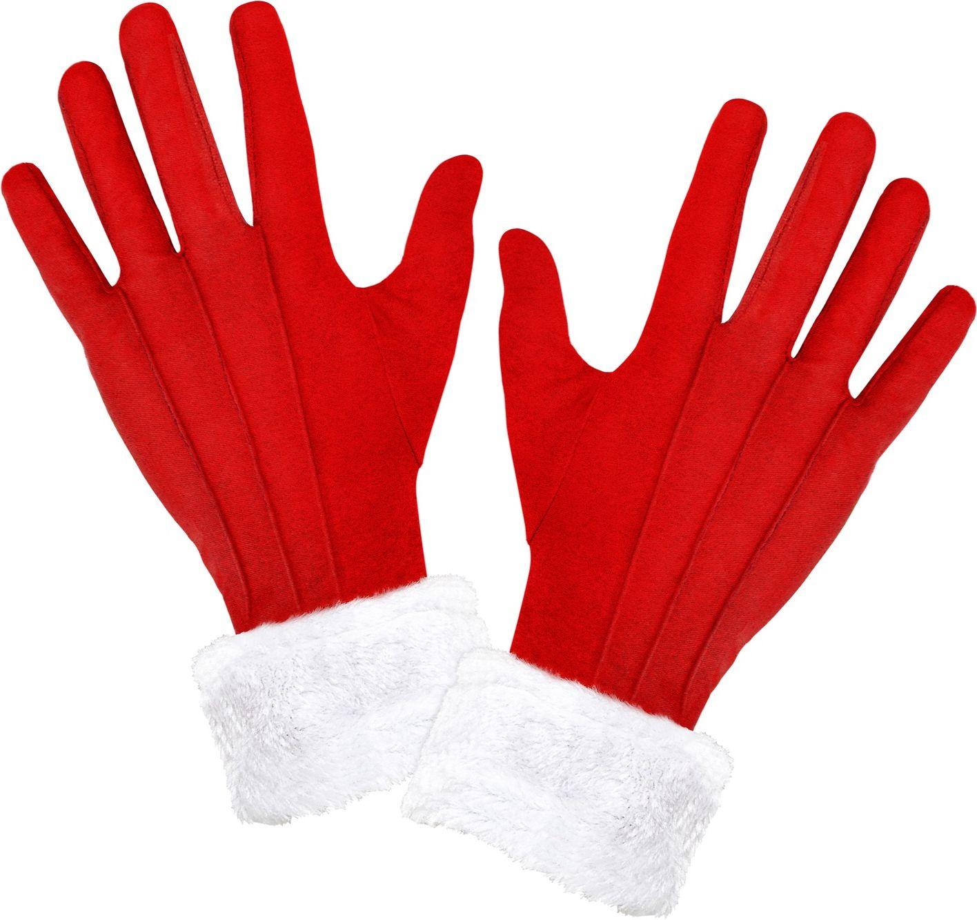 Kerstman handschoenen met pluche