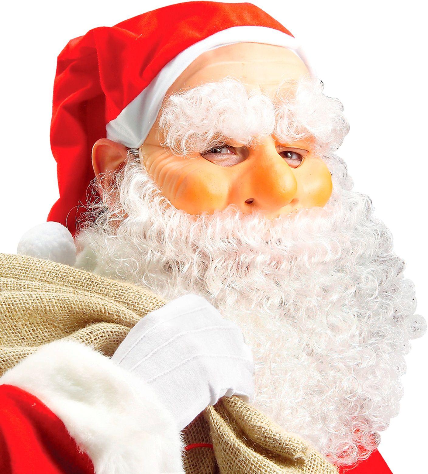 Kerstman masker, muts, baard, snor en wenkbrauwen