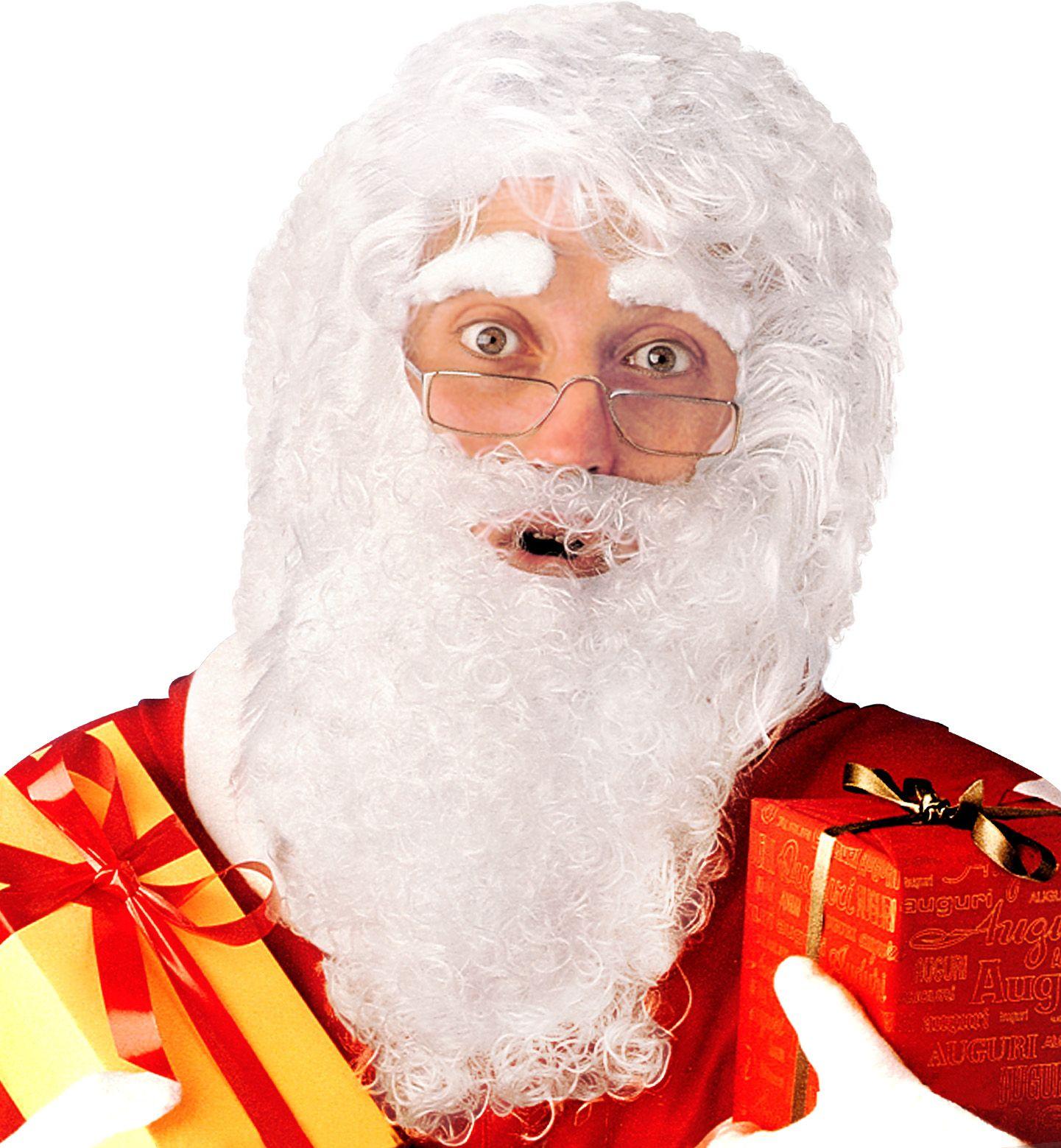 Kerstman pruik met baard, snor en wenkbrauwen