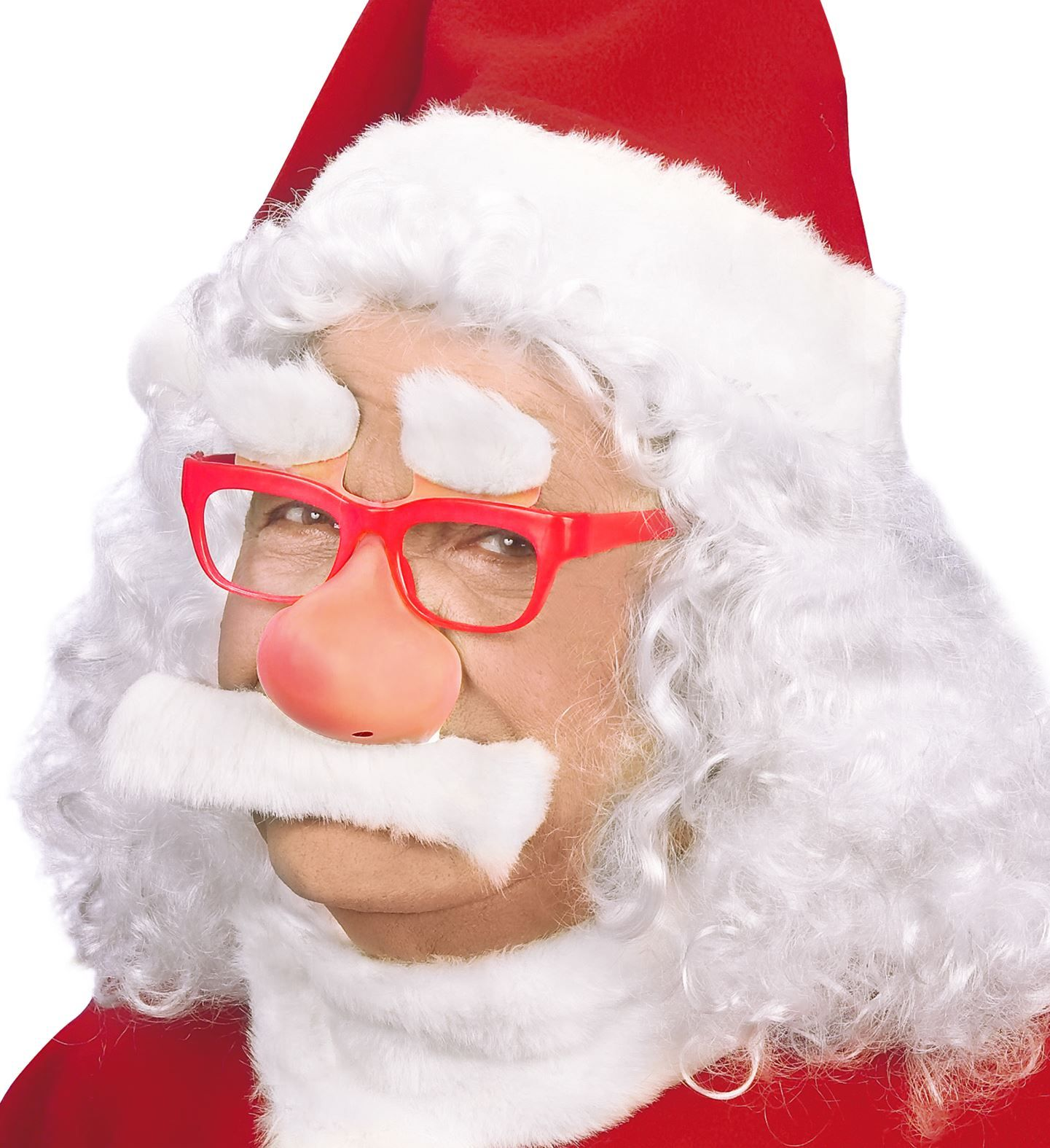 Kerstmanbril met snor en wenkbrauwen