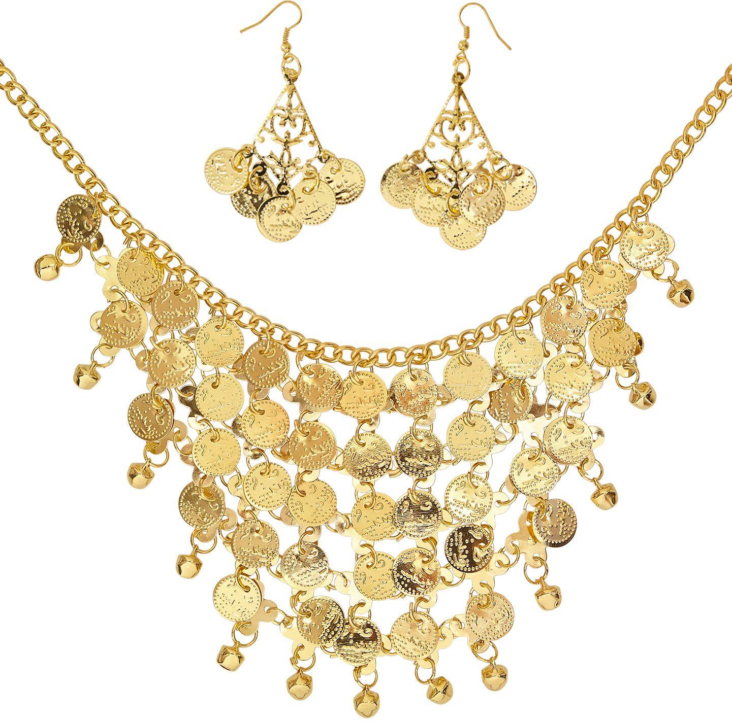 Ketting met oorbellen en muntjes goud