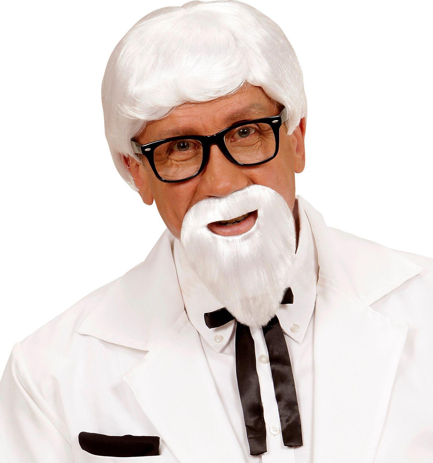 KFC directeur witte pruik met baard