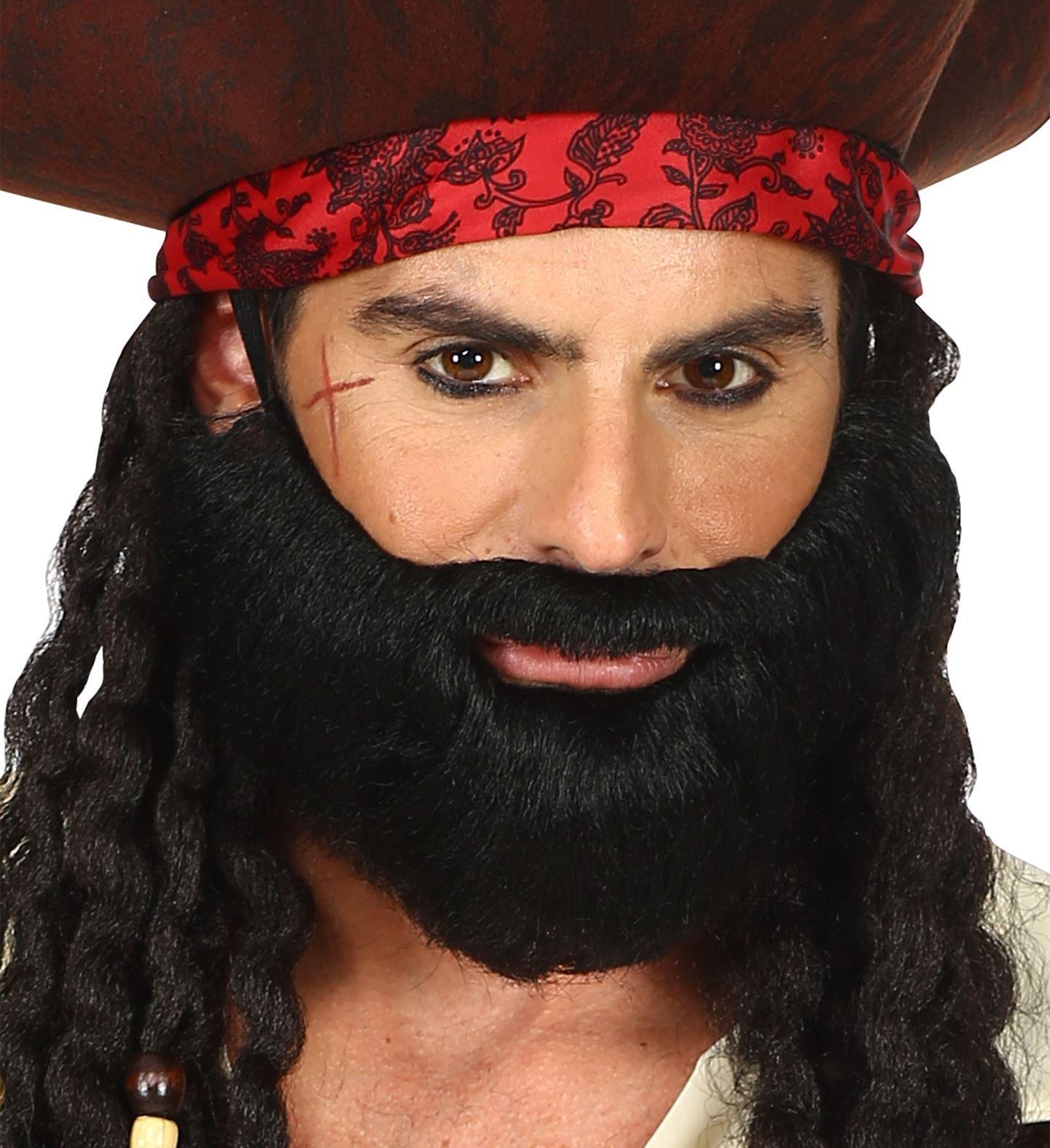 Korte baard met snor zwart