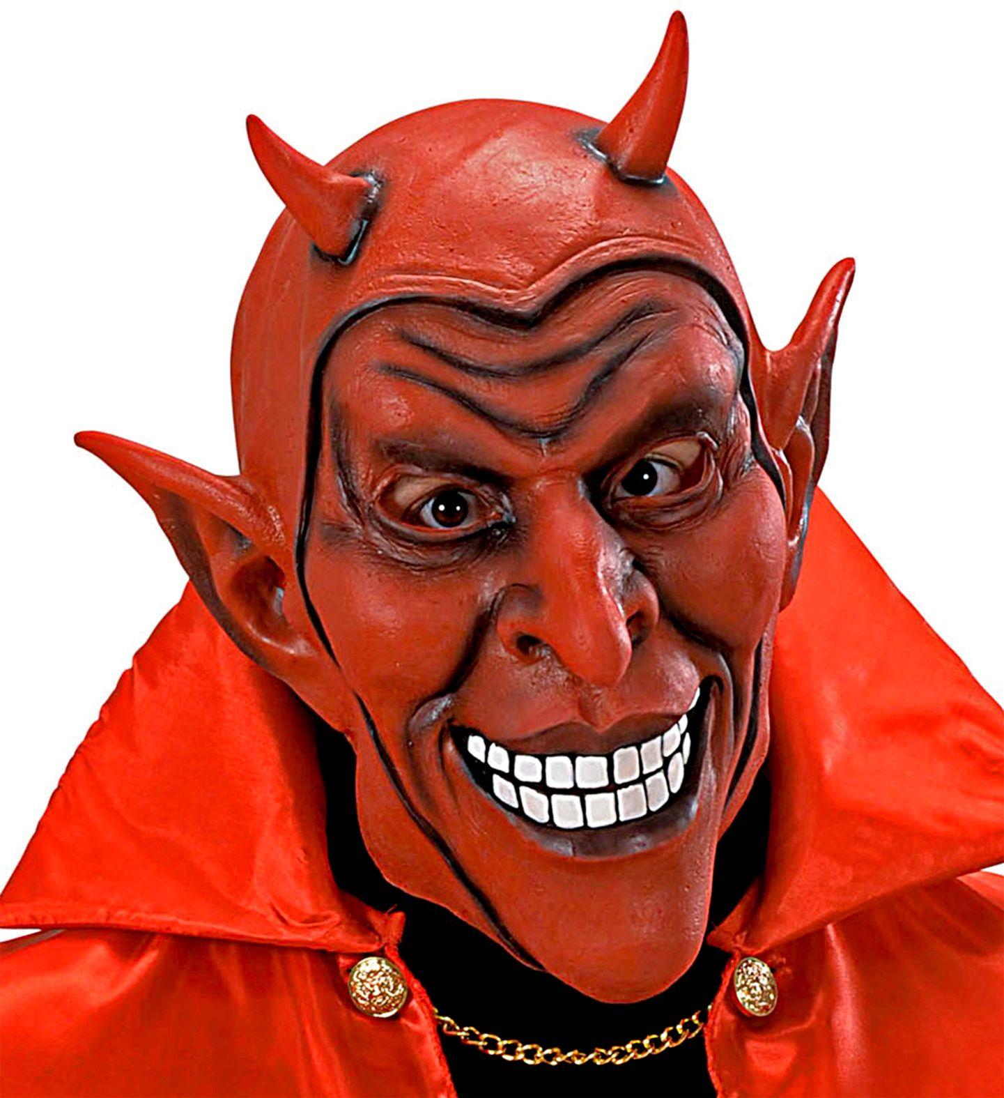 Lachend duivel masker rood