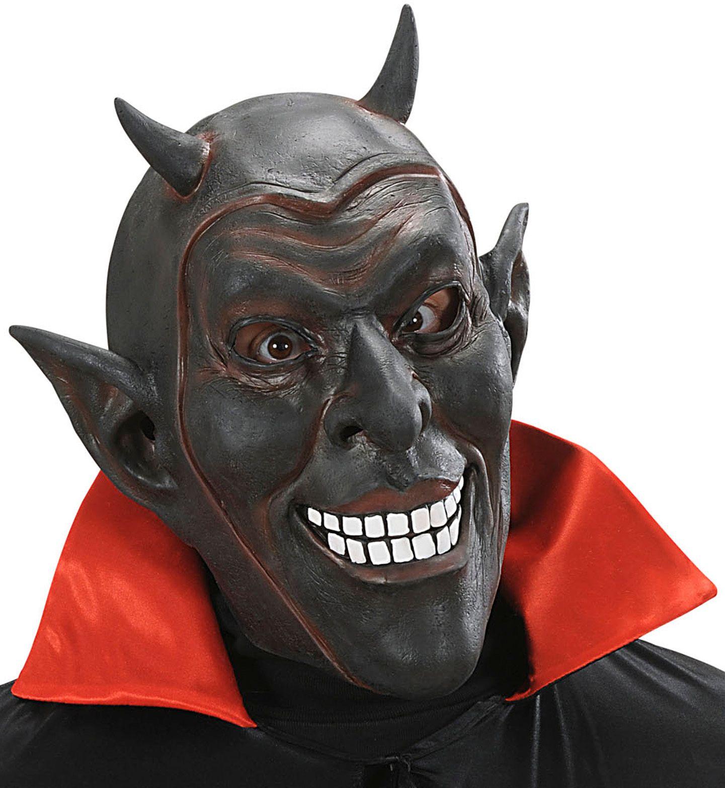 Lachend duivel masker zwart