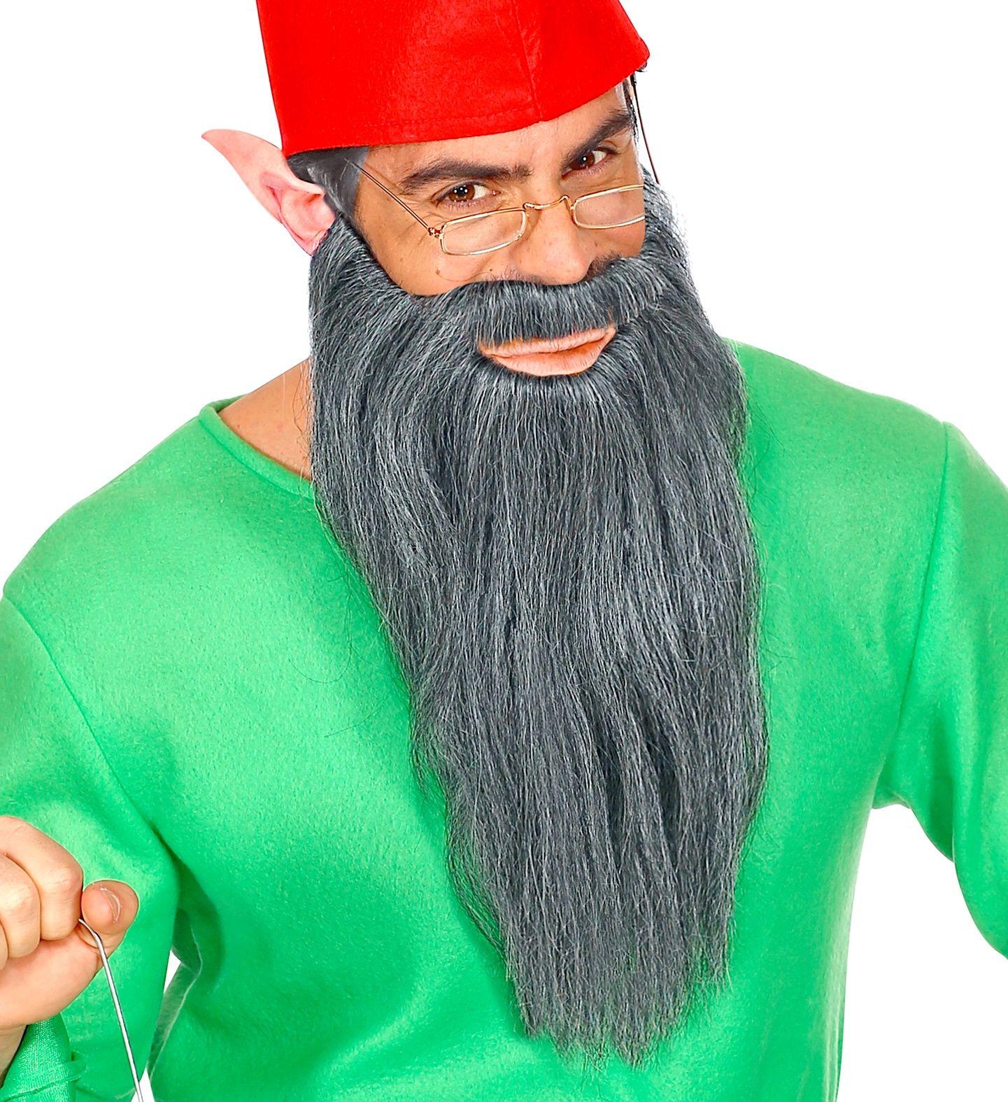 Lange baard met snor grijs