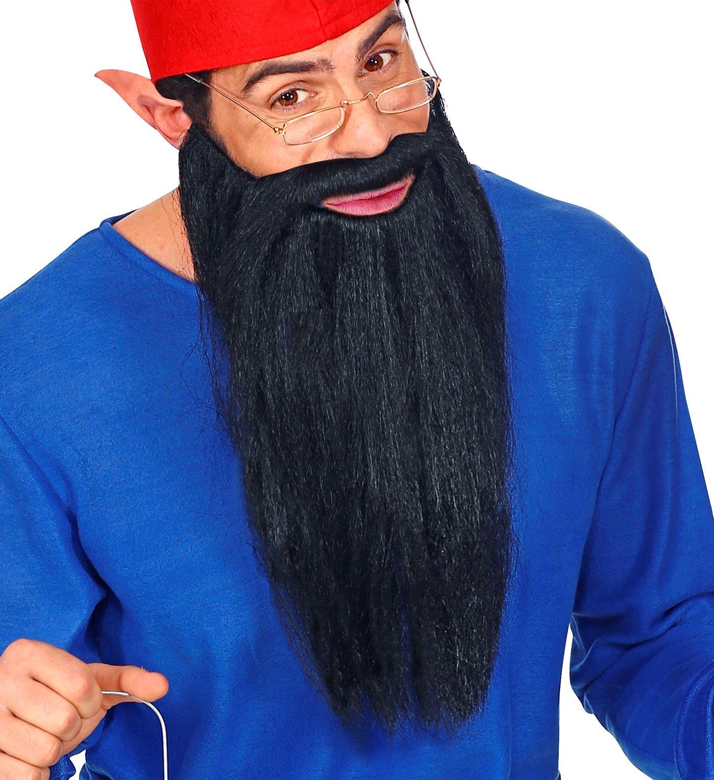 Lange baard met snor zwart