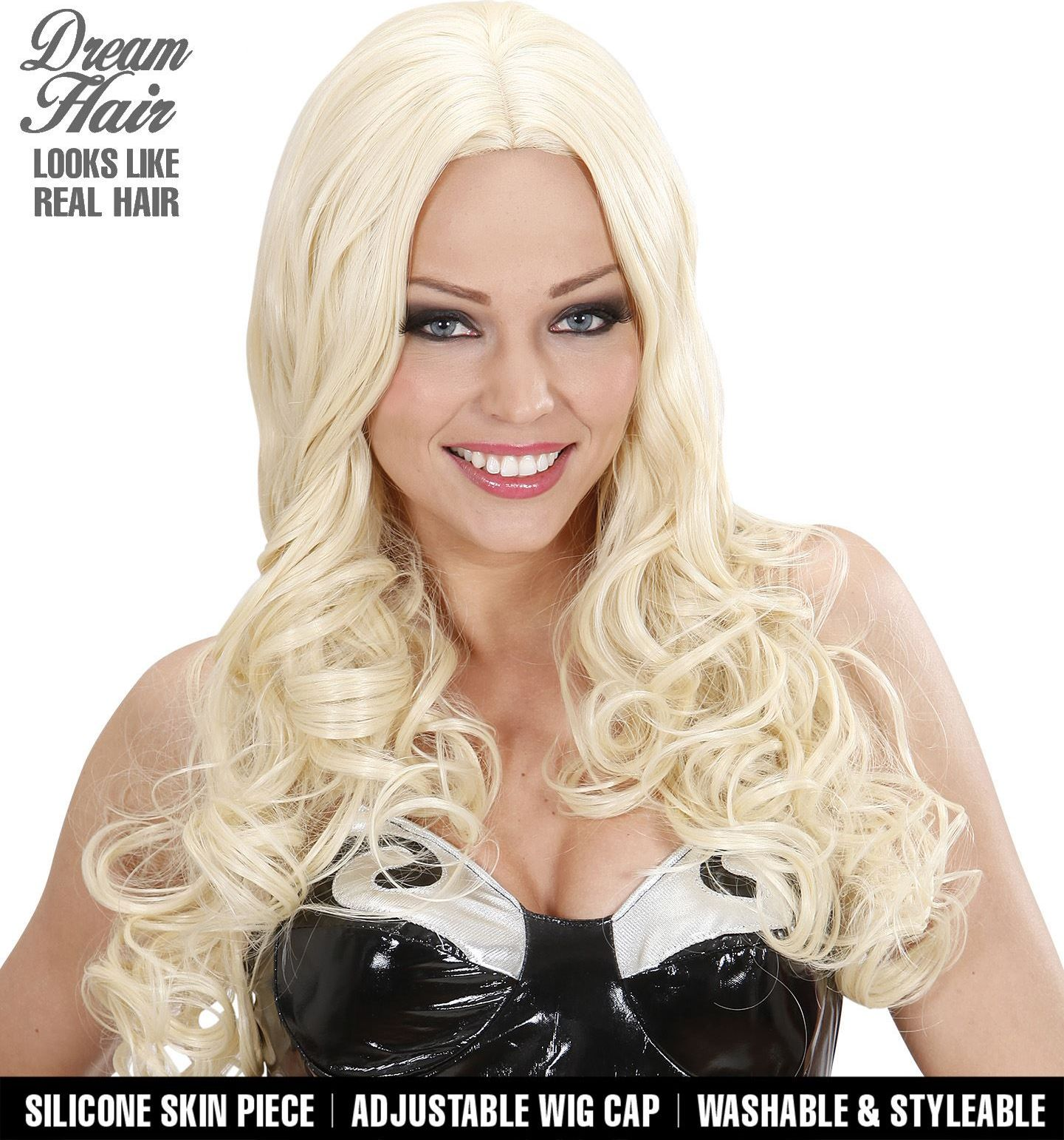 Lange blonde krullen pruik