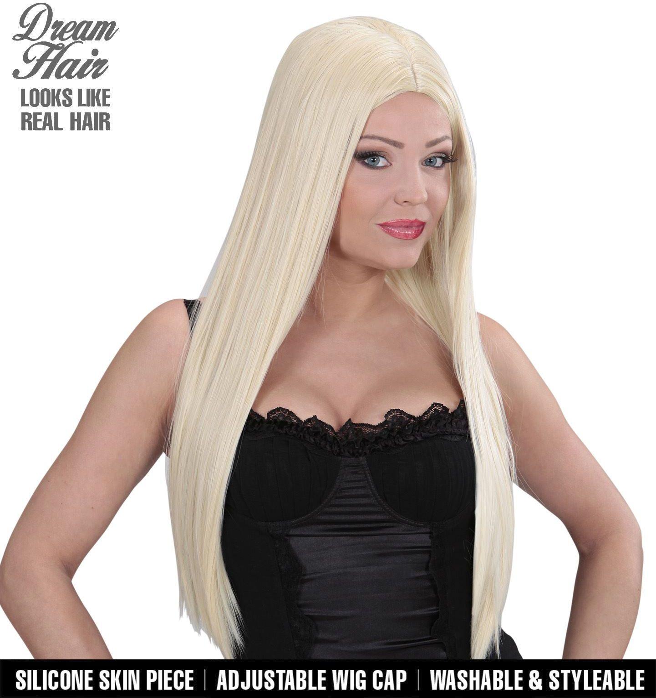 Lange blonde pruik dames