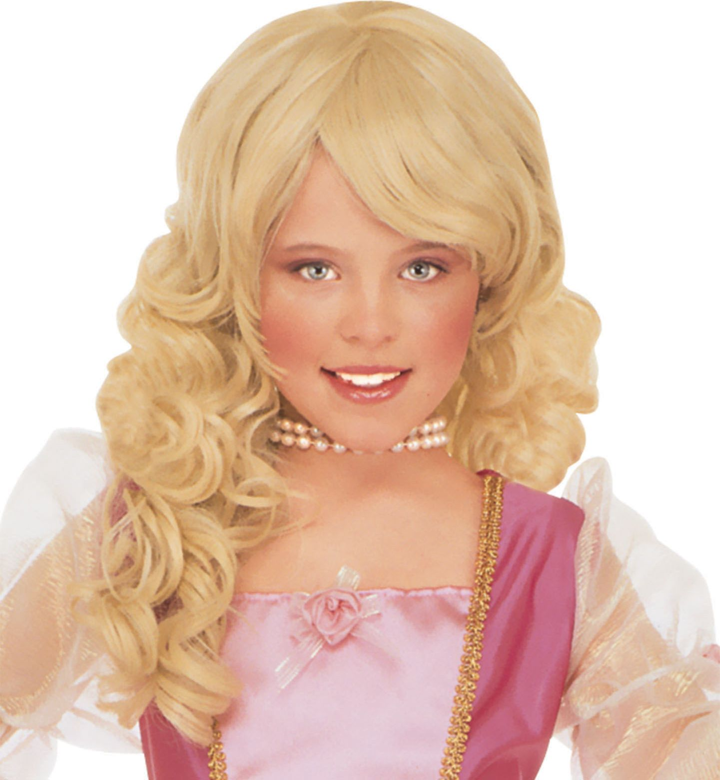 Lange blonde pruik met krullen kind