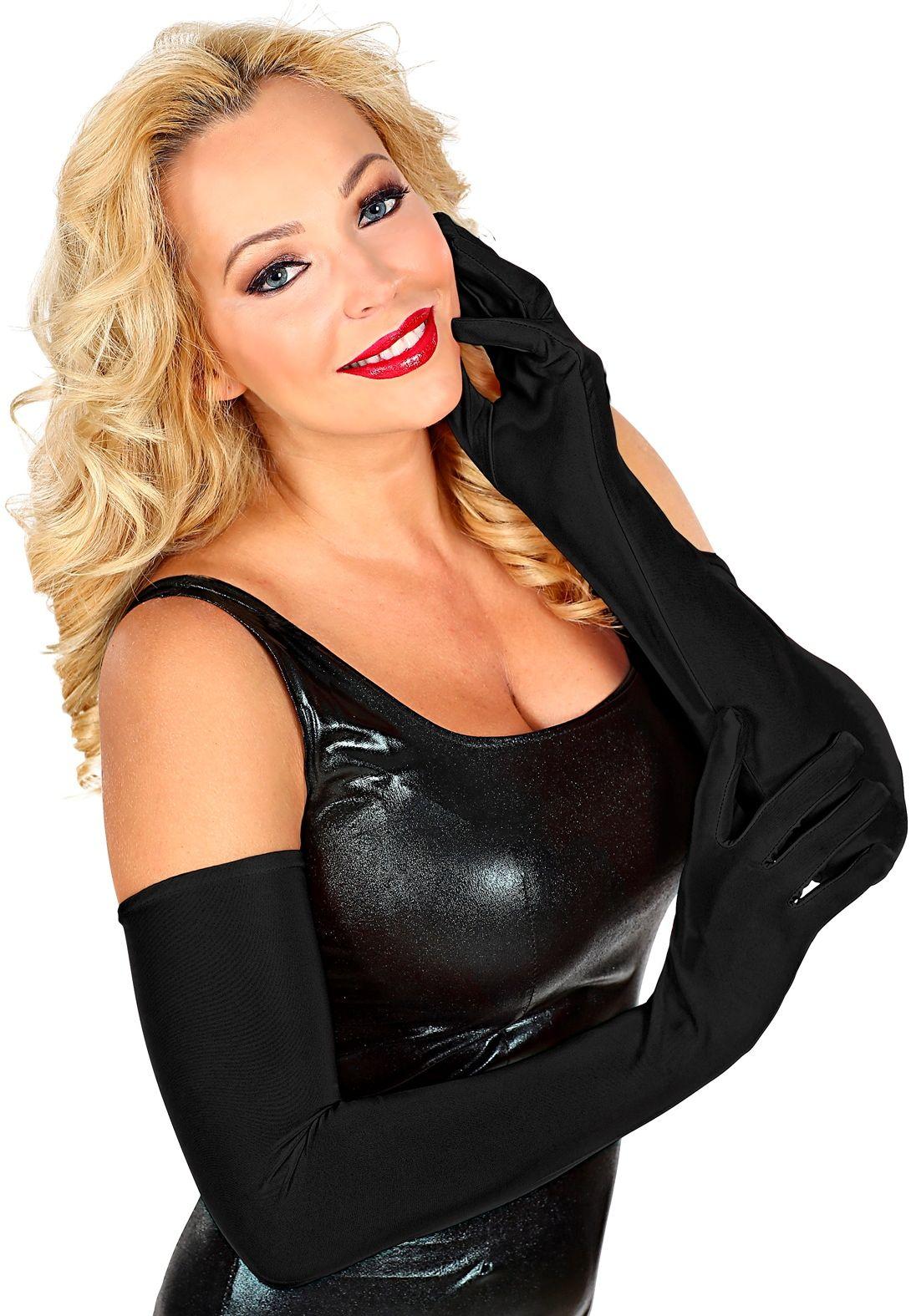 Lange gala handschoenen zwart