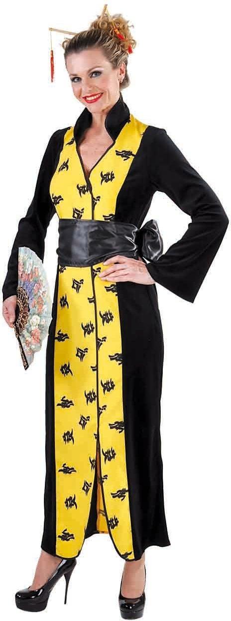 Lange gele Chinese jurk dames