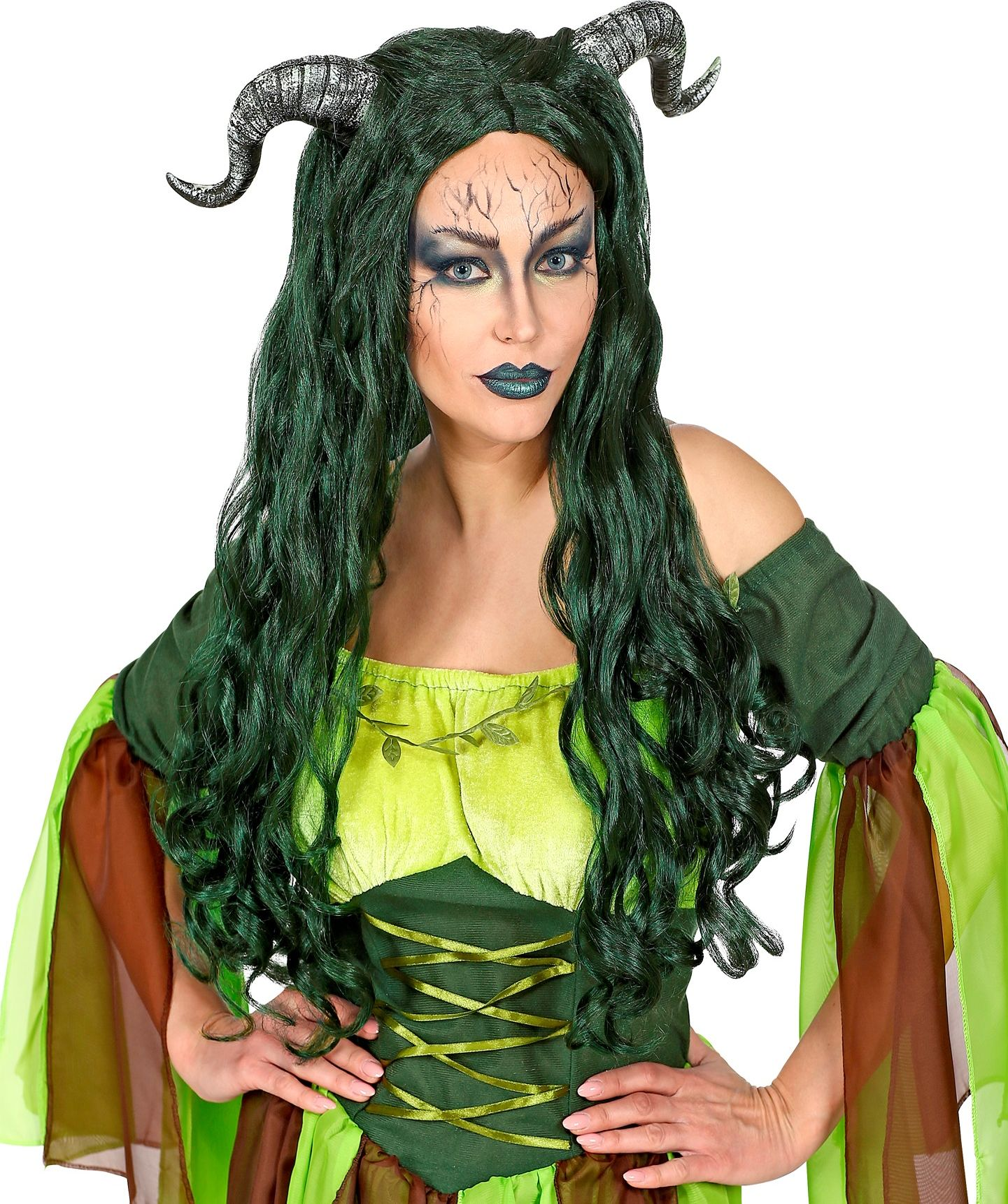 Lange groene heksenpruik