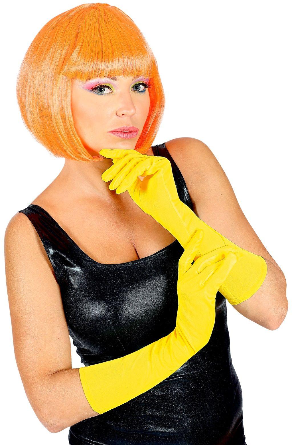 Lange neon gele handschoenen