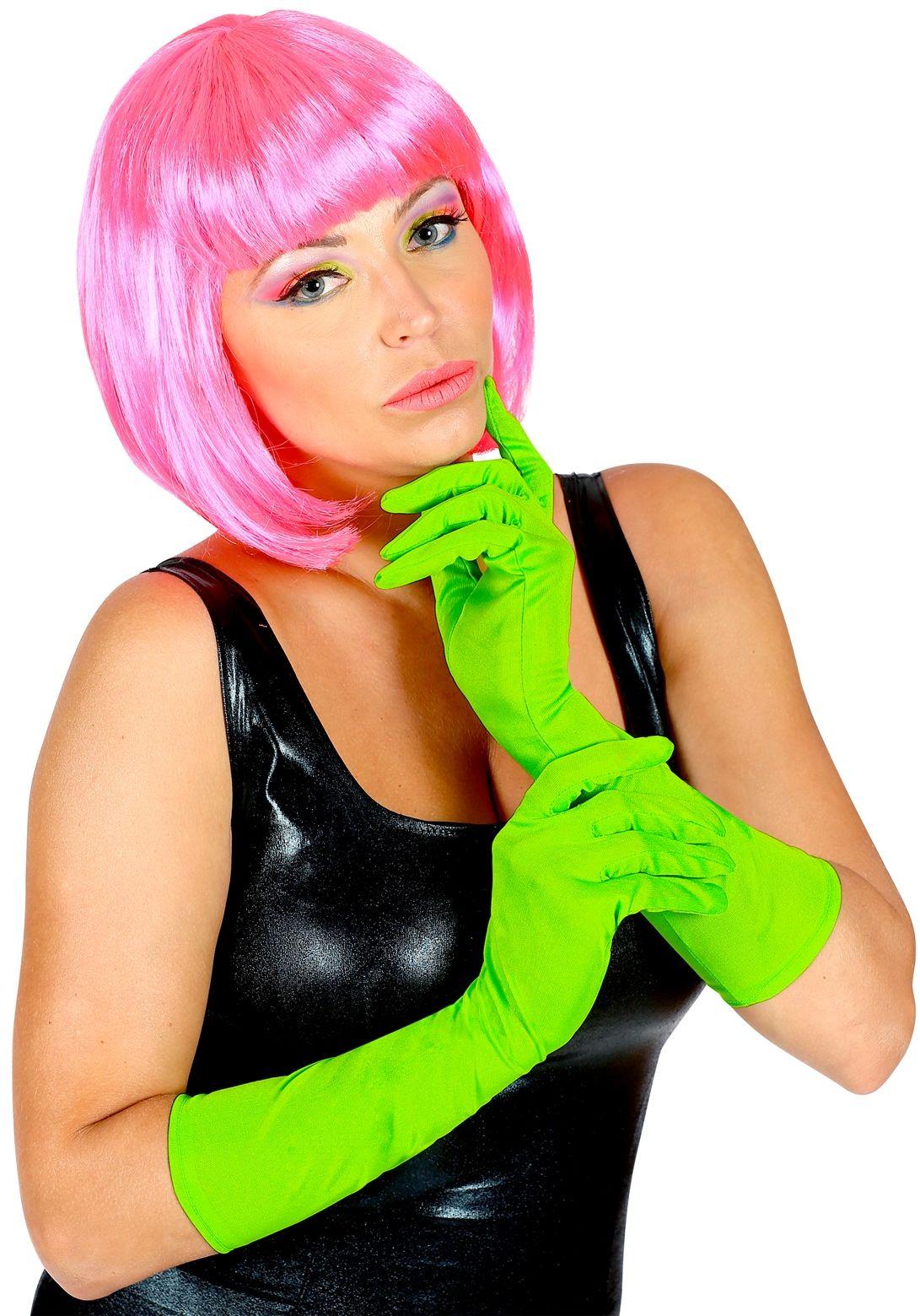 Lange neon groene handschoenen