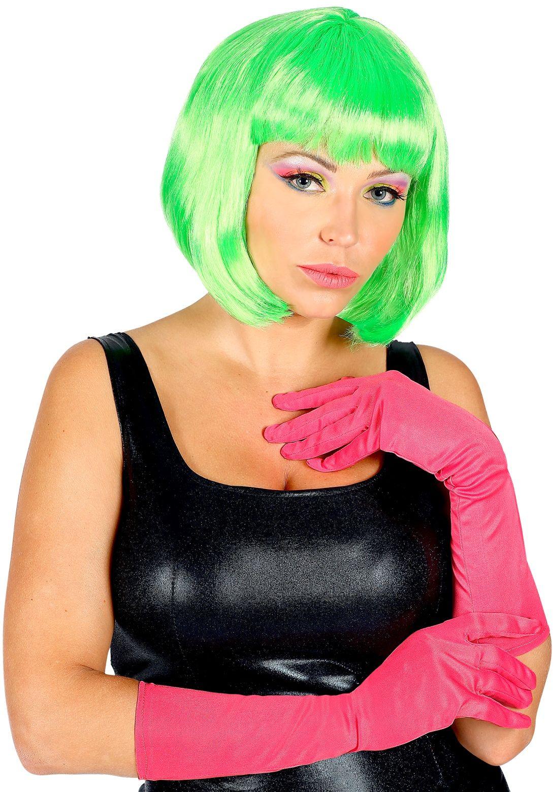 Lange neon roze handschoenen