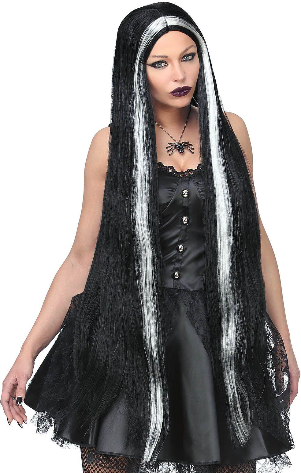 Lange pruik heks zwart dames