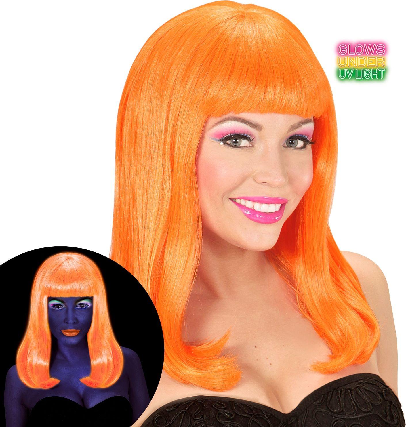 Lange pruik neon oranje