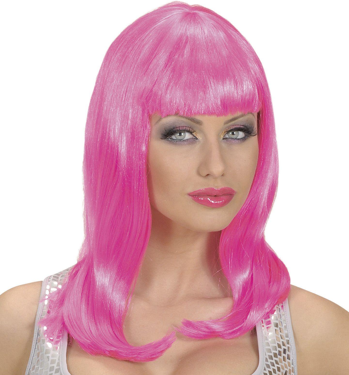 Lange pruik roze