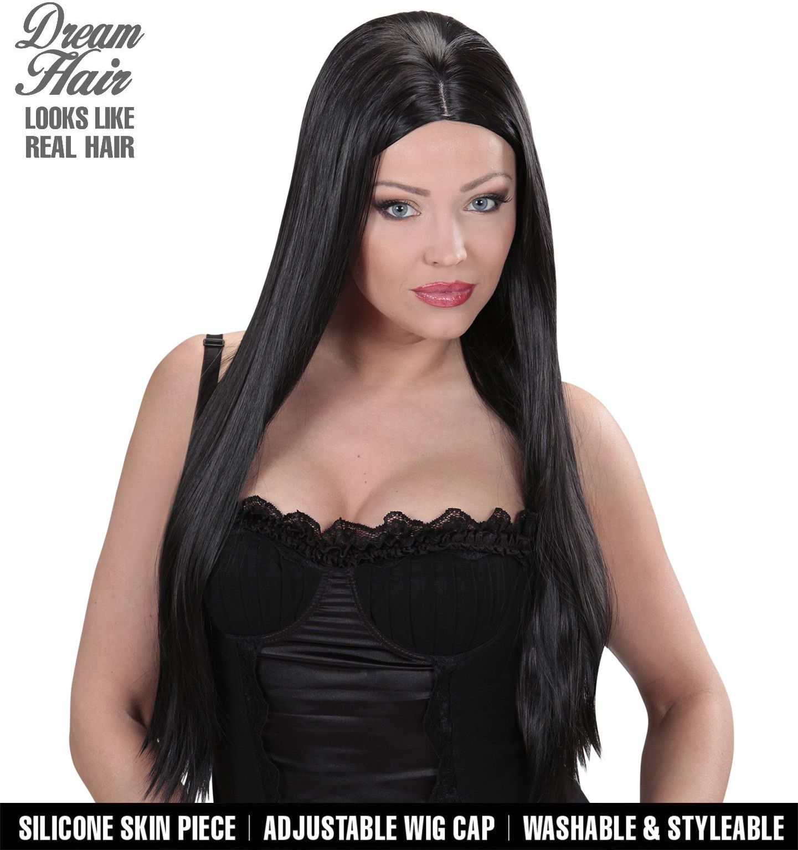Lange zwarte pruik dames