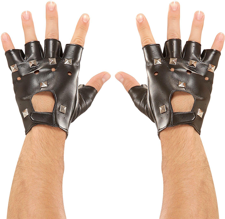 Lederlook biker handschoenen