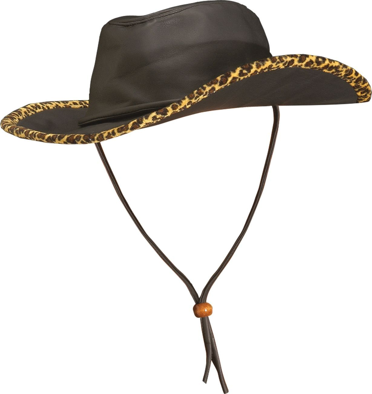 Lederlook cowboyhoed met luipaard print