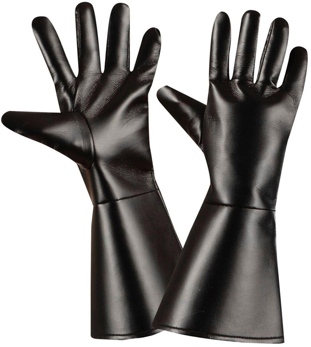 Lederlook handschoenen zwart