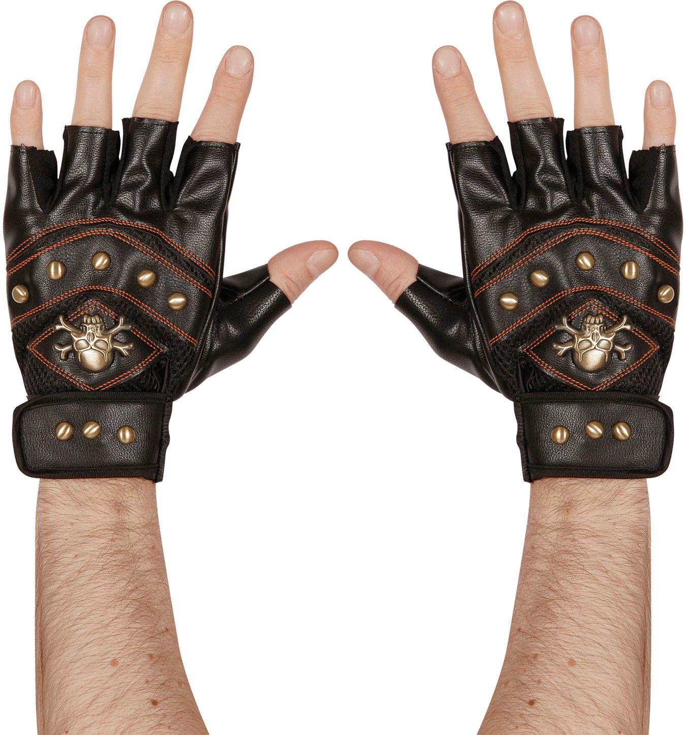 Lederlook piraten handschoenen