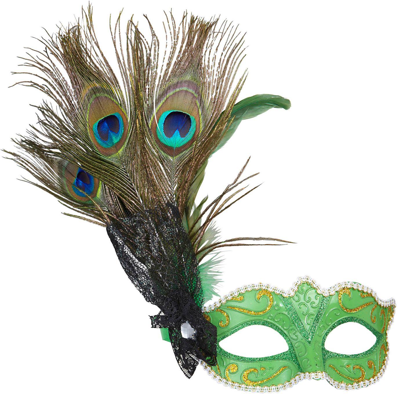 Lichtgroen oogmasker met pauwenveer