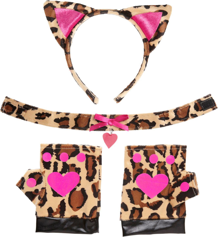 Luipaard oren, nekband en handschoenen