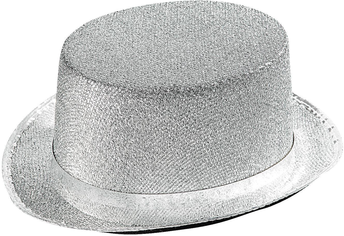 Lurex hoge hoed zilver