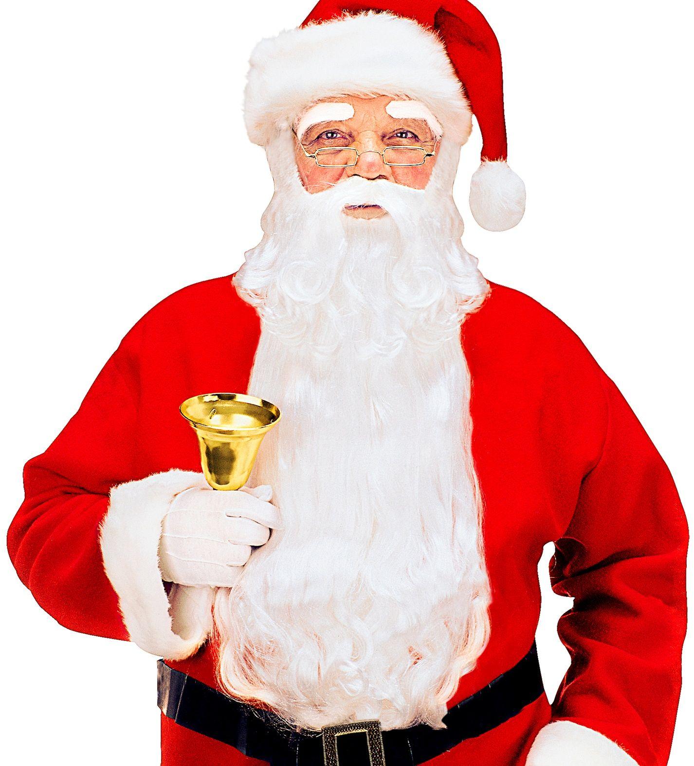Luxe kerstman baard met snor en wenkbrauwen wit