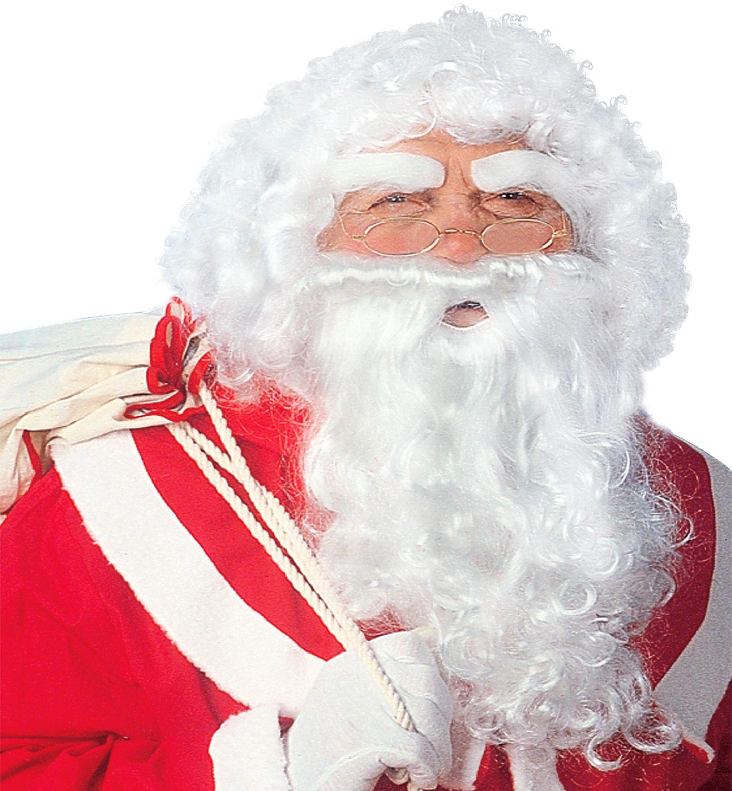 Luxe kerstman pruik met baard en wenkbrauwen
