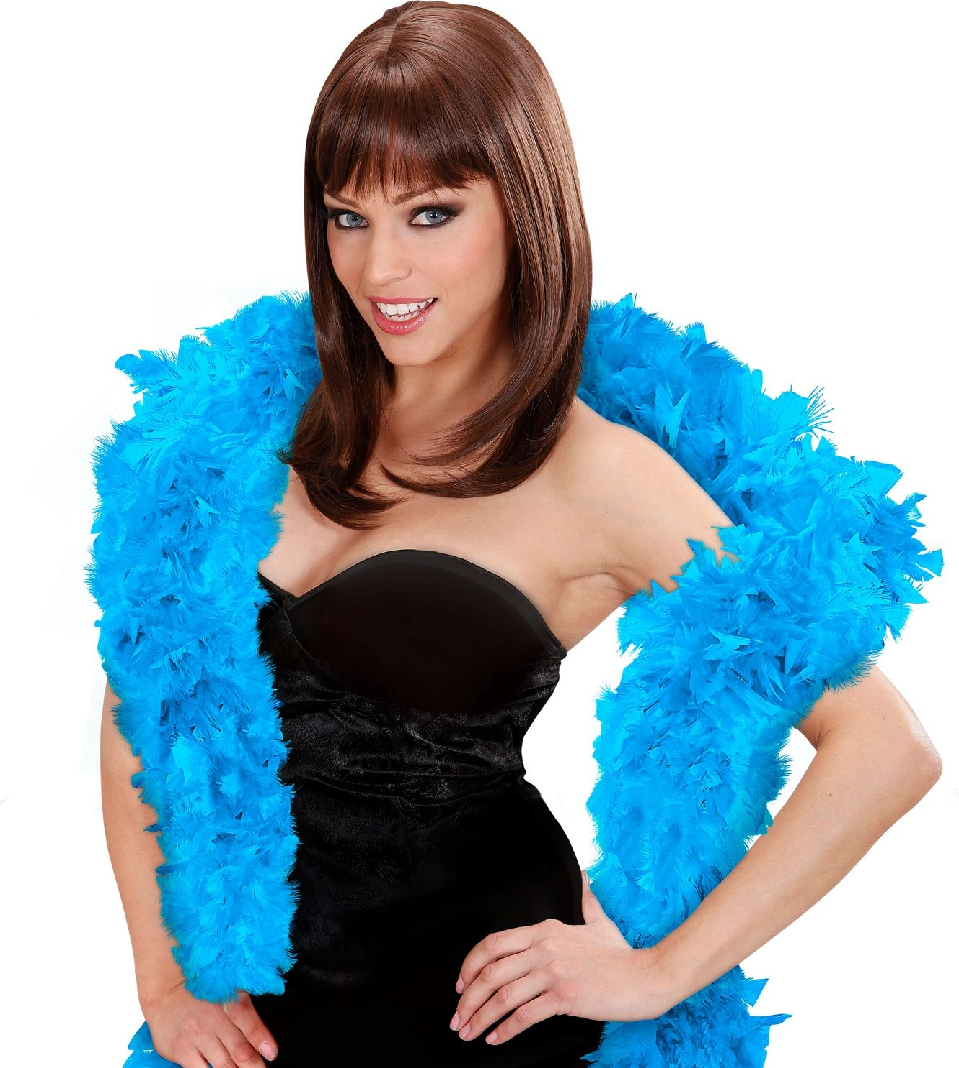 Luxe lichtblauwe boa